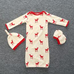 Sleeping Jumpsuits Australia - Baby Boys Girls Rompers Jumpsuits Sleepsuit Bodysuit 3pcs Long Sleeve Tops Cartoon Deer Hat Cotton Gloves Sleeping Bags Kids Clothing XY112