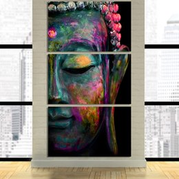 Large Buddha Canvas Prints NZ - Large Poster HD Printed Painting Canvas Home Decoration 3 Panel Buddha Face Wall Art Modular Artwork Pictures For Living Room