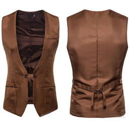 casual winter wedding dresses 2019 - Customized Men Wedding Dress Vest Autumn And Winter New V-collar Design Men Armor Men Self-cultivation Double-row Button