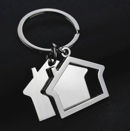 large alloy pendants wholesale NZ - New Metal Creative Flat House Alloy Key Ring Home Pendant Cute Key Chain For Gifts Present Couple Chains