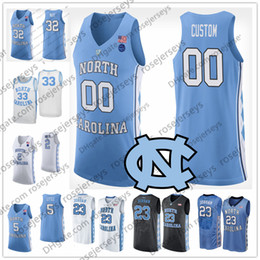 e5167024e162 Custom North Carolina Tar Heels NCAA Basketball blue black white 2 Coby 13  Cameron Johnson 32 Luke Maye 5 Nassir Little UNC Jerseys