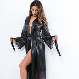 Long sLeeve robes Lingerie online shopping - Summer Lace Patchwork Satin Kimono Robe Sexy Sleepwear Lingerie Women Silk Long Nightgown Ladies Solid Long Sleeve Robes