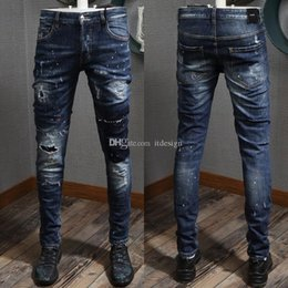 white color jeans for men Australia - Cool Guy Jeans Italia Fashion Style Color Wash Effect Ripped Skinny Hot Sale Denim Trousers For Men