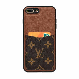 Discount designer iphone - For Huawei p30 p30 pro Luxury Designer phone case for Samsung s9 s10 note9 Leather Card Holder Phone Cover for iphone X