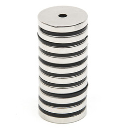 $enCountryForm.capitalKeyWord Australia - Wholesale- 10pcs Set Disc Mini 29.7x4.7mm With Bore 5mm N52 Rare Earth Strong Neodymium Magnet Bulk Super Strong Round Shape Magnets