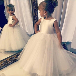 Cute Puffy Wedding Dresses Australia - Cute 2019 Baby Flower Girls' Wedding Dresses Crew Neck Sleeveless First Communion Dress Puffy Tulle Princess Party Gowns