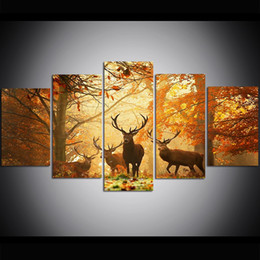Large Size Art Wall Canvas UK - 5 Piece Large Size Canvas Wall Art Deer Grass Leaves Autumn Trees Oil Painting Wall Art Pictures for Living Room Paintings Wall Decor