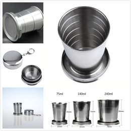 stainless steel collapsible travel cup Australia - Portable Outdoor Camping Stainless Steel Folding Cups 75ml 140ml 240ml Travel Kettle Collapsible Cup with Keychain