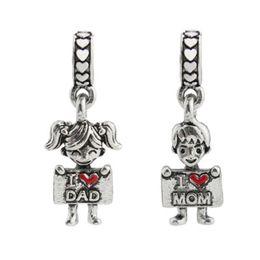 $enCountryForm.capitalKeyWord Australia - I Love Dad I Love Mom Beads Charm fit Pandorx for Bracelets Bangle Boys Girls Big Hole Bead 20pcs lot Jewelry Accessories Cheap Wholesale