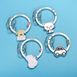 Zircon Glass Gifts Australia - Silver Cute Animal Cartoon Keychain House Key Holder Women Girls Charm Dog Cat Car Keyrings Souvenirs Gift