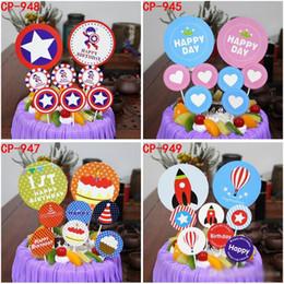 Balloon Birthday cakes online shopping - New baking birthday cake flag Kids birthday party cake decorations Captain America Hot Air Balloon Ornament