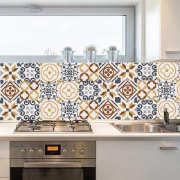 Kitchen Set Package Australia - 6pcs set 3D Europe Style Pattern Tile Floor Sticker PVC DIY Wall Sticker Kitchen Bathroom Decoration Waist Line Art Mural Poster