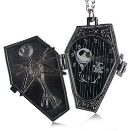 Vintage Gothic The Burton's Nightmare Before Christmas Dial Quartz Pocket Watch Pendant Necklace Chain Gifts for Men Women Kids