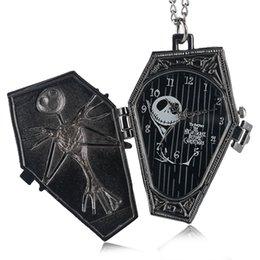 Großhandel Vintage Gothic The Burtons Nightmare Before Christmas Dial Quarz Taschenuhr Anhänger Halskette Kette Geschenke für Männer Frauen Kinder