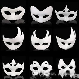 blank masquerade half masks Australia - Wholesale White Unpainted Face Mask Plain Blank Version Paper Pulp Mask DIY Masquerade Masque Mask