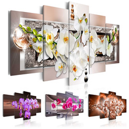 Canvas Pictures Flowers Australia - 5PCS Set Orchid Flower Art Print Frameless Canvas Painting Wall Picture Home Decoration No Frame(Color: Multicolor)
