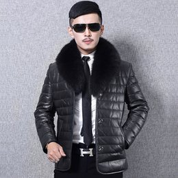 $enCountryForm.capitalKeyWord Australia - Men Faux Leather Jacket Warm Thermal-Lined Winter Short Coat Fur Collar Thick Parka Casual Jacket for Outdoor