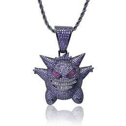 free necklaces UK - 2019 Full Rhinestone Gengar Pendant Necklace Creative Hip Hop Bling Bling Ice Out Jewelry With Free 24 Inch Chain For Men Gift