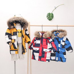 Discount boys fur parka Winter Warm Down Jackets for Boys Girls Parkas Coats Camouflage Long Style Hooded Jackets Teen Fur Collar Outerwear Boys