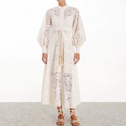 Wholesale women's party dresses resale online – Runway Dresses Women High Quality Lace Hollow Out Stand Collar Lantern Sleeve Long Dress New Women s Party Dress S XL