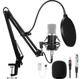 Wholesale Professional Sound Studio Recording Condenser Computer Microphone set With Acissor Microphone stand USB BM Mikrofo For Live Broadcast