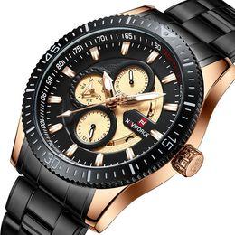 Wrist Watch Japan Movement Australia - Naviforce 9140 Man Stainless Steel Relojes Hombre Masculino Quartz Japan Movement International Wrist Watch Brands