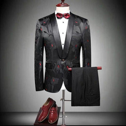 $enCountryForm.capitalKeyWord Canada - New 2019 Design Mens Wedding Tuxedos Stylish Embroidery Royal Black Red Shawl Lapel Groom Wear Custom Made One Button Blazer(Jacket+Pants)