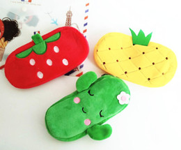 watermelon cosmetic bags cases Australia - 2019 Cute Fruit Watermelon Cactus Plush Pencil Case Cosmetic Bag Pen Box for Girls Gift Stationery Pouch School Office Supplies