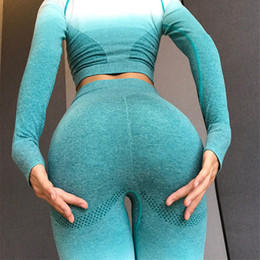 ladies wearing yoga pants Australia - Gradient Color Yoga Outfits Lady Exercise Pants Plus Size Yoga Leggings Lift Butts Fitness Wear Women Fashion High Waist Activewear