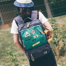 Cartoon Style Backpacks Australia - Korean Style Personality Laptop Bag 16 Inch Harajuku Funny Cartoon Printed Canvas Backpack Unisex Multi-pocket