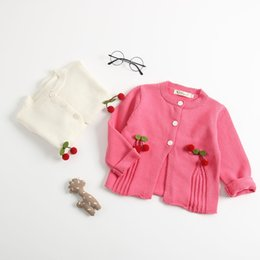 Cotton Cherry Australia - 2019 Autumn New Arrival korean verison cotton pure color Cherry all-match Knitted Sweater coat Sweater for cute sweet baby girls