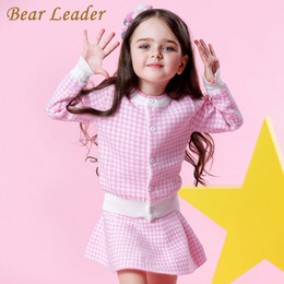pink bear suit Australia - Bear Leader Girls Sets 2018 New Autumn Pink Houndstooth Knitted Suits Long Sleeve Plaid Sweater+skit 2pcs Kids Suits For 3-7y Y190518