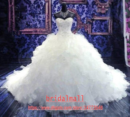 Wedding dresses cheap organza ruffled online shopping - 2019 Luxury Beaded Embroidery Ball Gown Wedding Dresses Princess Gown Corset Sweetheart Organza Ruffles Cathedral Train Bridal Gowns Cheap