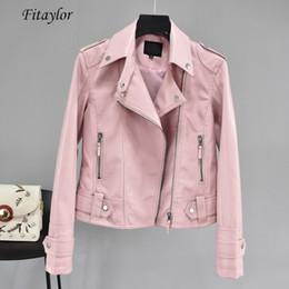 $enCountryForm.capitalKeyWord Australia - Autumn Short Faux Pu Leather Jacket Black Rivet Zipper Motorcycle Pink Jackets Coat Turn down Collar Casual Yellow Coats