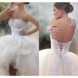 fall vintage wedding dresses Canada - Vintage Tiered Ruffle Ball Gown Wedding Dresses Strapless Lace-Up Back Appliqued Ruched Custom Made High Low Bridal Gowns
