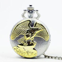 Necklaces Pendants Australia - Best Selling Vintage Antique Gold Eagle Wings Silver Case Table Pocket Watches Necklace Pendant Gift for Men Women TD2025