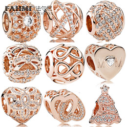Tree knoTs online shopping - FAHMI Sterling Silver Charming heart RADIANCE LOVE KNOT CHRISTMAS TREE Shimmering Sentiments Fashion Trend Rose Gold Beads