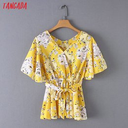 Yellow Sashes Australia - Tangada woman yellow flower print pleated blouses women bow tie sashes shirt v-neck short sleeve sweet brand tops YD137