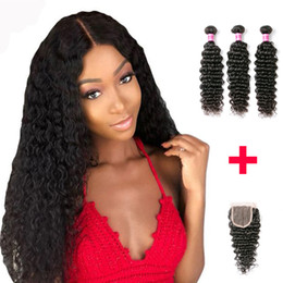 Discount human hair pieces for women - Brazilian Human Hair Bundles With Lace Closure Deep Wave Hair Lace Closure Natural Hairline 3 Bundles With Lace Closure