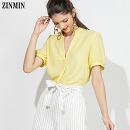$enCountryForm.capitalKeyWord UK - Zinmin Women's Summer T Shirt For Woman Deep V Neck Casual Office Lady Shirt Tops Yellow Solid New Design Clothing Mujer Y19072701