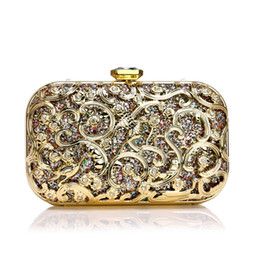 shoulder clutch bag chain 2019 - Hollow Out Style Women Evening Bags Sequined Wedding Party Small Chain Shoulder Lady Handbags Purse clutch fiesta mujer
