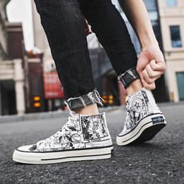 $enCountryForm.capitalKeyWord Australia - SJfashionsalon 19S S INS Hottest Sale Men Classic Cartoon Hand Drawing Casual Comfortable High Cut Canvas Shoes