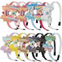$enCountryForm.capitalKeyWord Australia - Baby Rainbow Unicorn Headband Sequin Fruit Bowknot Hair Sticks Cartoon Children Girls Shining Bow Designer Headband Kids Hair Accessories