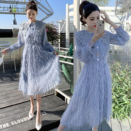 f28484defe03a Sweet Korean Women Party Tassel Feather Dress 2019 Fashion Spring Blue  Tassel Patchwork Lace Midi Dress Elastic Waist Vestidos