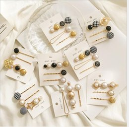 Wholesale New products from Japan and South Korea Hairpin Three piece crown pearl button clip side clip