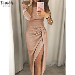 Wholesale business midi dresses resale online – New Women Off Shoulder Formal Business Work Party Pencil Dress Ladies Split Sexy long sleeve midi bodycon solid dress summer
