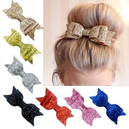 "Satin Hair Clips Australia - Women Girls Boutique Glitter Hair Bow with Clip 16colors 4.5"" bow clips Womens Satin Big Bow Hair Clip Barrette Accessory"