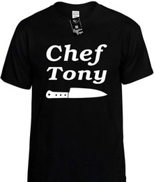 Wholesale Mens Funny T Shirt Chef Tony With Knife Food Cook Unisex Tee Cotton Low Price Top Tee For Teen Girls