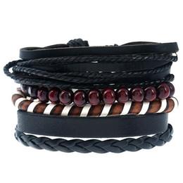 $enCountryForm.capitalKeyWord Australia - 20 styles Men Bracelet Handmade Adjustable Multilayer Woven Leather Rope Bracelet Men Bohemian Vintage Charm 4 pcs Bracelets Set pksp4-5