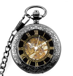 $enCountryForm.capitalKeyWord NZ - Retro Steampunk Mechanical Pocket Watch Bronze Laser Engraved Fob Chain Men Women Flip Watches Skeleton Clock